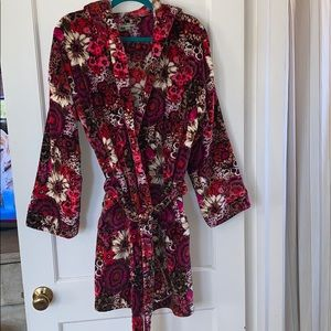 Vera Bradley Hood Fluffy Fleece Robe EUC Size L/XL